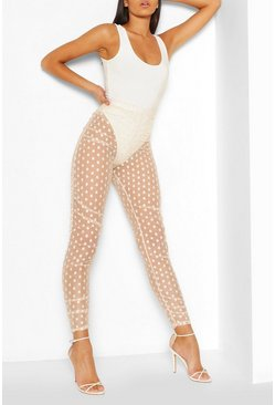 Nude Leggings i prickig mesh med rysch