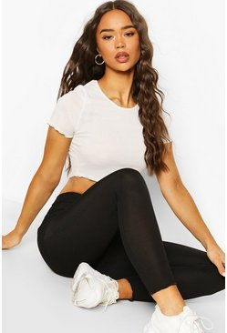 Black Lettuce Hem High Waist Legging