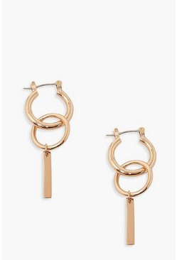 Gold Double Ring & Bar Hoop Earrings