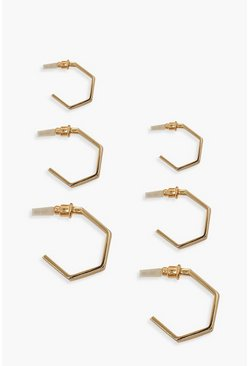 Gold Chunky Hexagon Hoop 3 Pack