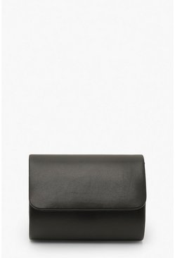 Black PU Structured Mini Clutch Bag & Chain