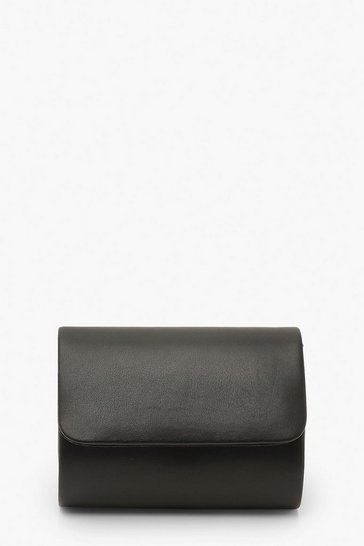 Black PU Structured Mini Clutch Bag & Chain