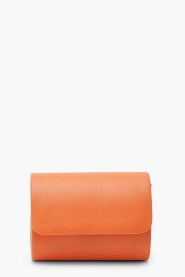 Orange PU Structured Mini Clutch Bag & Chain
