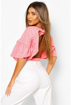 Coral pink Polka Dot Ruffle Open Back Tie Top