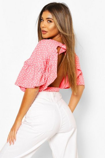 Coral pink Pink Polka Dot Ruffle Open Back Tie Top