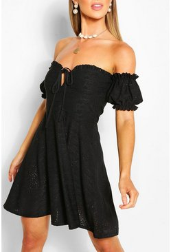 Black Off Shoulder Jersey Crochet Skater Dress