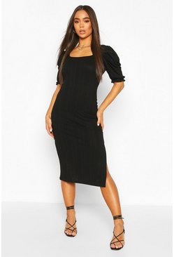 Black Slinky Rib Midaxi Dress With Puff Sleeves