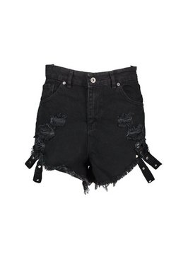Black High Rise Distressed Stud Detail Denim Hotpant
