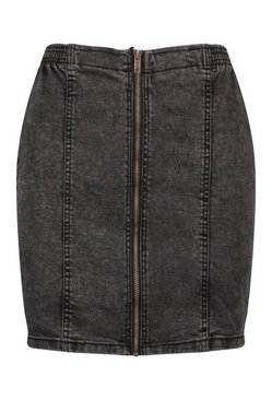 Washed black Zip Front Stretch Denim Mini Skirt