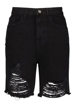 Black High Rise Distressed Denim Dad Short