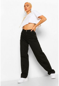 Washed black High Rise Utility Dad Jeans