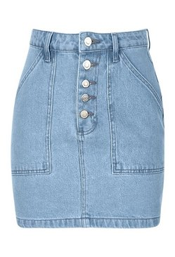 Light blue Button Front Pocket Denim Skirt
