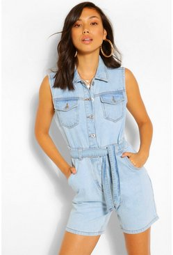 Sleeveless Denim Playsuit , Light blue bleu