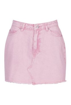 Pink Acid Wash Denim Mini Skirt