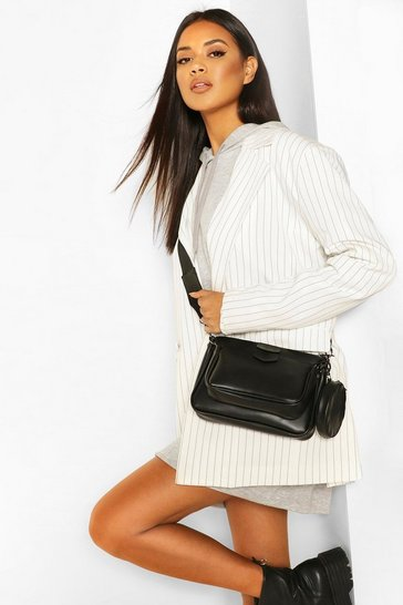 Black Faux Leather Multi Pocket Cross Body Bag