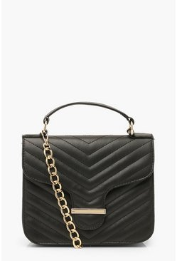 Black Quilted Bar Detail Cross Body Bag