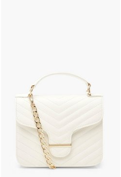 White Quilted Bar Detail Cross Body Bag