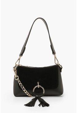 Black Ring & Tassel Detail Cross Body Bag