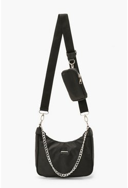 Black svart Nylon Multi Way Cross Body Bag With Mini Bag