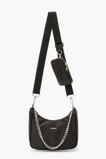 Black Nylon Multi Way Cross Body Bag With Mini Bag