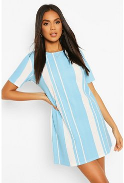 Blue Mixed Stripe Shift Dress