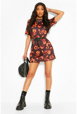 Black Flame Dragon Print T-shirt Dress