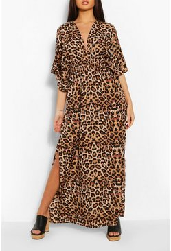 Black Leopard Kimono Sleeve Plunge Split Maxi Dress