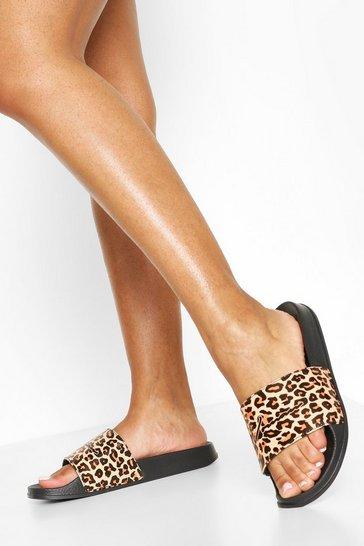 Black Leopard Print Woman Sliders