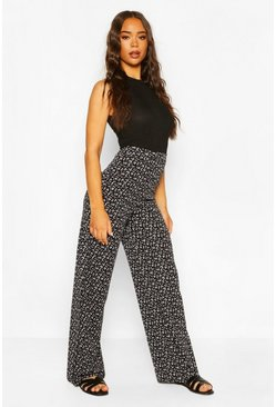 Black Ditsy Floral Ribbed Trouser