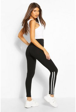 Black Half Stripe Legging