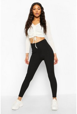 Black Micro Ribbed High Waist Legging