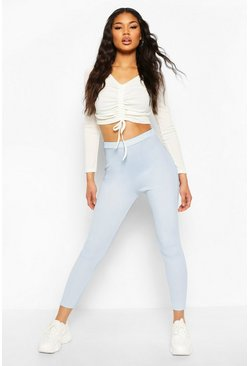 Blue Micro Ribbed High Waist Legging