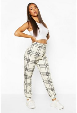 Ecru white Check Loopback Jogger