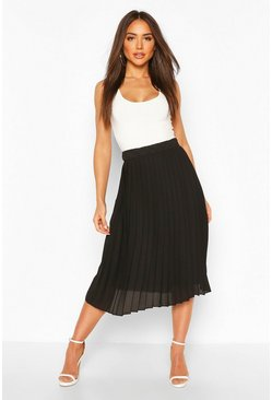 Black Woven Pleated Midi Skirt