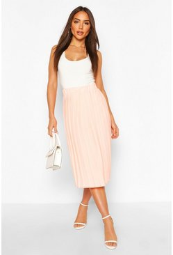 Peach orange Woven Pleated Midi Skirt