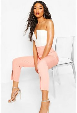 Coral pink Split Hem Tailored Woven Pants