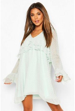 Mint green Dobby Frill Smock Dress