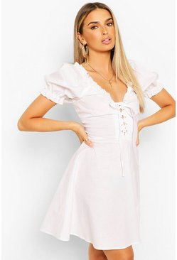 White Eyelet Lace Up Skater Dress