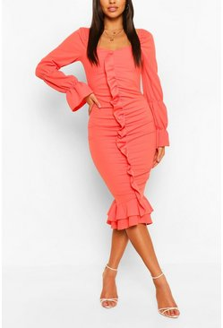Coral pink Ruffle Detail Puff Sleeve Midi Dress