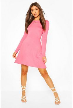 Coral pink Cut Out Back Puff Sleeve Skater Dress