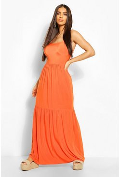 Orange Tiered Strappy Maxi Dress