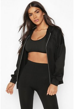 Black Fit Zip Through Gym Hoodie