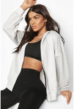 Grey Fit Zip Through Gym Hoodie