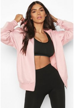 Rose pink Fit Zip Through Gym Hoodie