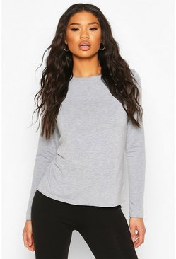 Grey Basic Jersey Loose Fit Long Sleeve Gym Top