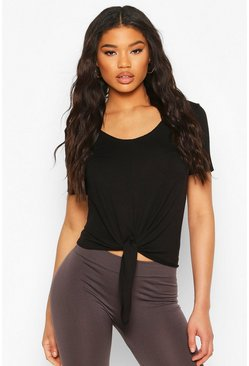Black Fit Basic Jersey Loose Fit Gym Tie Front T-shirt