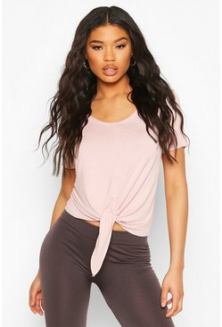 Blush pink Fit Woman Basic Baggy Jersey T-Shirt Met Ceintuur