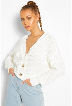 Cream white Chunky Knit Crop Cardigan