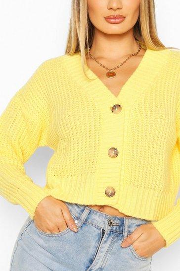 Lemon yellow Chunky Knit Cropped Cardigan