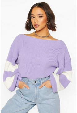 Lilac Balloon Sleeve Stripe Sweater